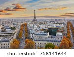 aerial panoramic cityscape view ... | Shutterstock . vector #758141644