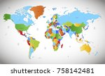 color world map vector | Shutterstock .eps vector #758142481