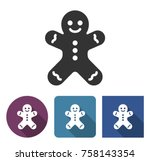 gingerbread man icon in... | Shutterstock .eps vector #758143354