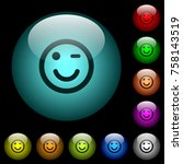 winking emoticon icons in color ...   Shutterstock .eps vector #758143519