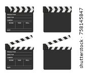 film clapper board set isolated ... | Shutterstock .eps vector #758145847