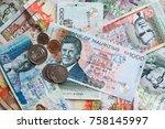 mauritius money mauritius rupee ... | Shutterstock . vector #758145997