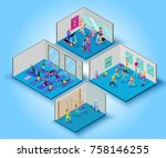 fitness training big set with...   Shutterstock .eps vector #758146255