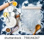 baking background. flour  sugar ... | Shutterstock . vector #758146267