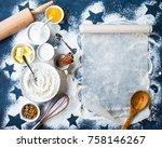 baking background. flour  sugar ... | Shutterstock . vector #758146267