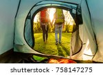 shot of a happy couple camping... | Shutterstock . vector #758147275