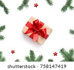 christmas composition.... | Shutterstock . vector #758147419