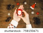 woman hands holds red velvet... | Shutterstock . vector #758150671