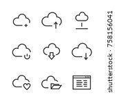 cloud line icons. thin line... | Shutterstock .eps vector #758156041