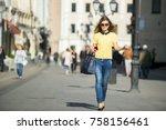young beautiful pretty girl... | Shutterstock . vector #758156461