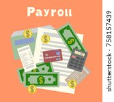 payroll. invoice. financial... | Shutterstock . vector #758157439