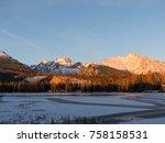 sunset in hight tatras. evening ... | Shutterstock . vector #758158531