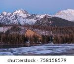 sunset in hight tatras. evening ... | Shutterstock . vector #758158579