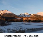 sunset in hight tatras. evening ... | Shutterstock . vector #758158585