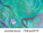 green pink abstract spots on... | Shutterstock . vector #758163979