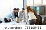 business people conference in... | Shutterstock . vector #758165491