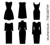 little black dress designs.... | Shutterstock .eps vector #758168749