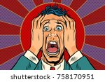 terrified man holding his head  ... | Shutterstock .eps vector #758170951