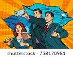 businessmen with smartphones...   Shutterstock .eps vector #758170981