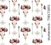 watercolor ethnic boho seamless ... | Shutterstock . vector #758171851