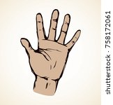 outstretched kid handprint...   Shutterstock .eps vector #758172061