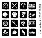baseball icons. grunge black...   Shutterstock .eps vector #758173231
