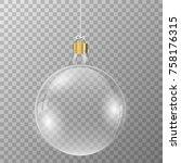 christmas crystal ball on... | Shutterstock .eps vector #758176315