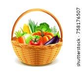 vegetables in wicker basket... | Shutterstock .eps vector #758176507