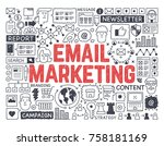 email marketing   hand drawn... | Shutterstock .eps vector #758181169
