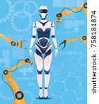 artificial intelligence girl... | Shutterstock .eps vector #758181874