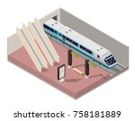 isometric subway station... | Shutterstock .eps vector #758181889