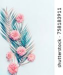 creative layout with tropical... | Shutterstock . vector #758183911