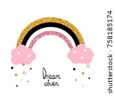 cute glitter rainbow and... | Shutterstock .eps vector #758185174