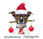 jack russell dog with pencil or ... | Shutterstock . vector #758186299