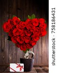 heart shaped red roses on tree... | Shutterstock . vector #758186431