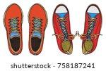 set of vector illustration blue ... | Shutterstock .eps vector #758187241
