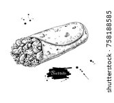 burrito drawing. traditional... | Shutterstock .eps vector #758188585