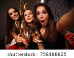 beautiful girls having party... | Shutterstock . vector #758188825