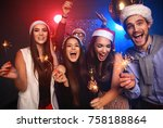 celebrating new year together....   Shutterstock . vector #758188864