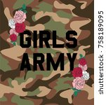girls army with rose flowers...   Shutterstock .eps vector #758189095