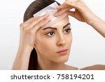 beauty face. skin care. woman...   Shutterstock . vector #758194201
