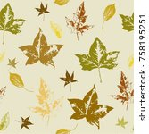 seamless vector pattern with... | Shutterstock .eps vector #758195251