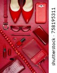 red woman accessories  jewelry  ... | Shutterstock . vector #758195311