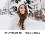 close up portrait of happy girl ... | Shutterstock . vector #758195581