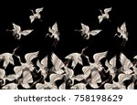 Stock vector seamless pattern with japanese white cranes in different poses f 758198629