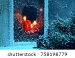frosted window with burning...   Shutterstock . vector #758198779