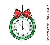 christmas clock frame bow... | Shutterstock .eps vector #758200315
