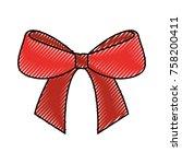 christmas bow ribbon decoration ... | Shutterstock .eps vector #758200411