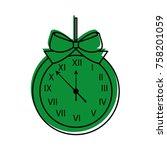 christmas clock frame bow... | Shutterstock .eps vector #758201059