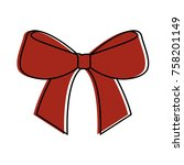 christmas bow ribbon decoration ... | Shutterstock .eps vector #758201149